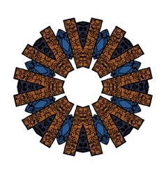 Mandala pattern in shades of blue orange white vector image