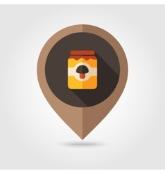 Mushroom canned flat mapping pin icon vector