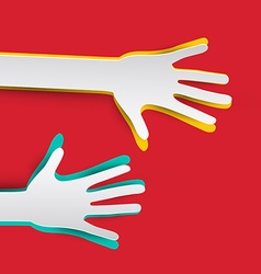 Paper Hands on Red Background vector image vector image