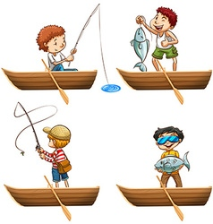 People in rowboat fishing vector image vector image