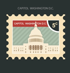 Postage stamp with capitol building in washington vector