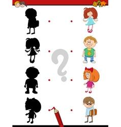 Preschool shadow activity with kids vector