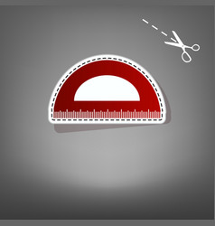 Ruler sign red icon with for vector