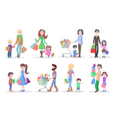 set of different buying people on white background vector image vector image