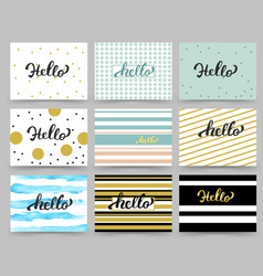 set of flyer brochure design templates with hello vector image