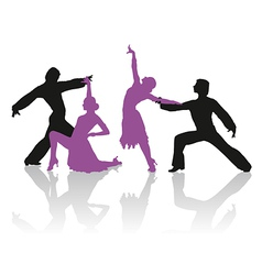 Silhouettes of couple dancing ballroom dance vector
