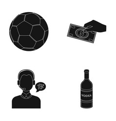 soccer ball money and other web icon in black vector image vector image