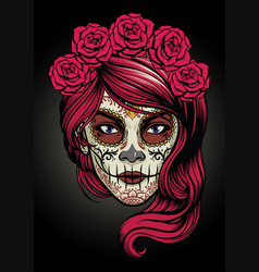 Sugar skull lady vector