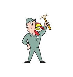 Turkey builder hammer standing cartoon vector
