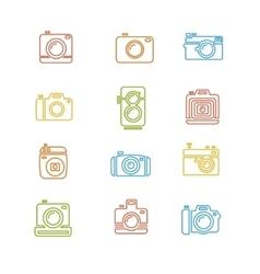 Vintage photo camera colorful icon line art vector