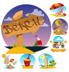 wooden pointer lifeguard tower beach umbrella and vector image