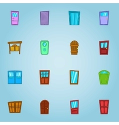 Types of doors icons set cartoon style vector image