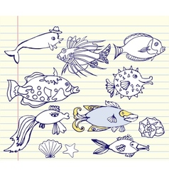Notebook set with fishes vector