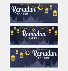 set of ramadan kareem horizontal banner vector image