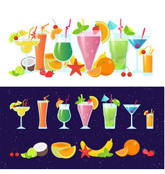 Set of tasty colorful cocktails flat design vector