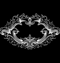 One color ornate frame vector