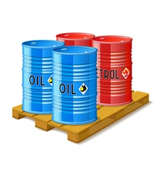 Wooden pallet and metal barrels with oil and vector