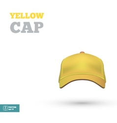 Yellow baseball cap template front view vector
