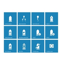 Condom pack icons on blue background vector