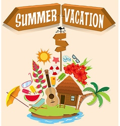 Summer vacation with bungalow on island vector