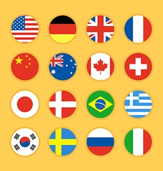 Collection of circle flag icon flat design vector