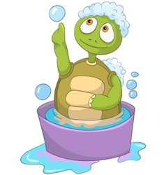 Funny turtle baby washing vector