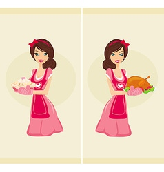 Beautiful waitress serving chicken and cake vector