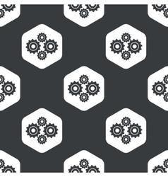 Black hexagon cogs pattern vector