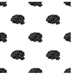 Brain in the virtual reality icon in black style vector
