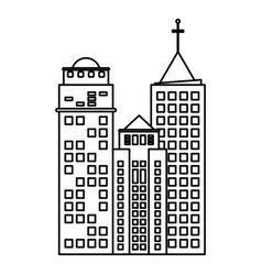 Building hotel business skyscraper line vector