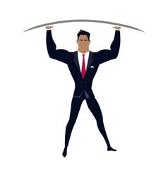 Businessman posing as telamon vector