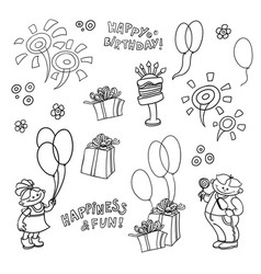 cartoon set of elements for the birthday vector image vector image