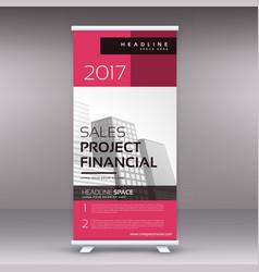 Clean modern pink standee roll up banner design vector
