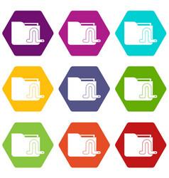 Computer worm icon set color hexahedron vector