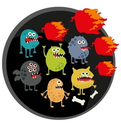 Cool monsters with fire vector