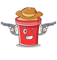Cowboy bucket character cartoon style vector