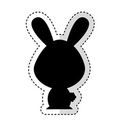cute rabbit silhouette isolated icon vector image