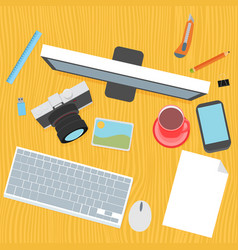 Designer desk photographer collections of flat vector