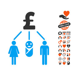 Family pound budget icon with valentine bonus vector