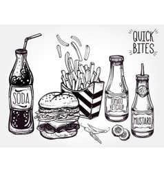 Fast food set vintage linear style vector image vector image