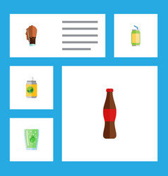 Flat icon beverage set of drink cup soda and vector