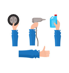 flat man hand holding items set vector image vector image