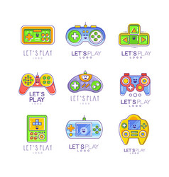 Game gadget collection in line style colorful vector