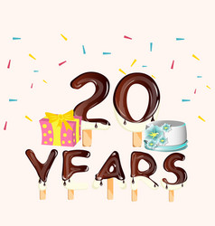 happy birthday twenty 20 year card with number vector image