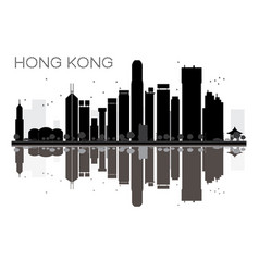 hong kong city skyline black and white silhouette vector image