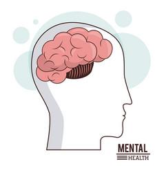 mental health human head brain healthcare medical vector image