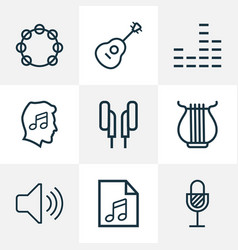 multimedia outline icons set collection of vector image vector image