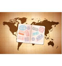 open foreign passport with international visa vector image