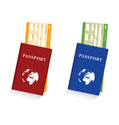 passport with air ticket set vector image