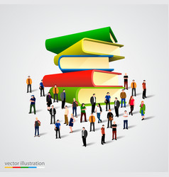 People crowd around book stack vector